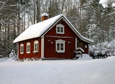 A little red cottage in the snow