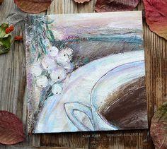 """Autumn tea""\ Paint by Yasnaya Jane\ painting, landskape, acril, mixed media, a cup"