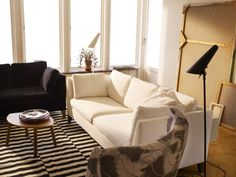 beige sofa with stockholm rug - Google Search