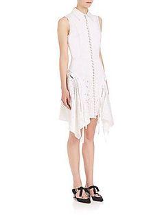 Proenza Schouler Sleeveless Cotton Poplin Eyelet Dress - White - Size