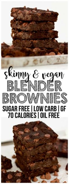 Skinny Flourless Vegan Blender Brownies! Low-calorie, gluten-free, low-carb, oil-free, dairy-free & sugar-free.