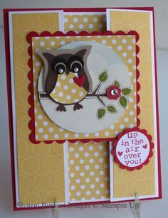 "Stamps: Best of Everything, Up, Up, and Away  Ink: Bashful Blue, Chocolate Chip, Old Olive, Real Red  Paper: Real Red, Whisper White, Polka Dot Parade DSP, Chocolate Chip, Crumb Cake, Basic Black  Punches: Owl Builder, Itty Bitty Shapes punch pack, 1 1/4"" Scallop Circle, 1"" circle, 2 1/2"" Circle"