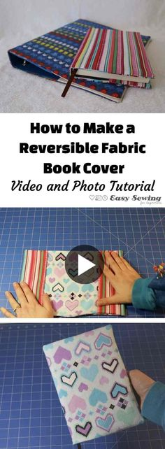 How to make a reversible fabric book cover with video tutorial!