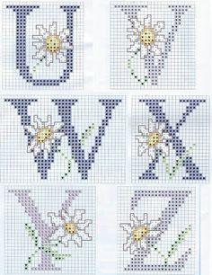schema punto croce alfabeti e numeri a punto scritto
