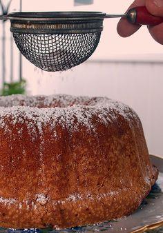 Sour Cream Pound Cake  2 stick butter, at room temp (do not substitute)  6 eggs, room temp  8oz sour cream, room temp  3 cups sugar  3 cups flour  ¼ teaspoon baking soda  1 ½ teaspoons vanilla  ½ teaspoon almond extract (optional)
