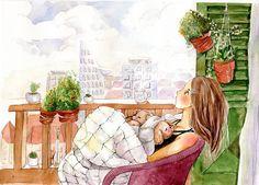 So San Da Love Illustration, Graphic Design Illustration, Watercolor Illustration, Watercolor Art, Lovely Girl Image, Anime Scenery, Illustrations And Posters, Unique Art, Art Girl