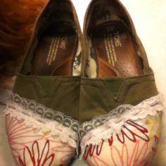 I FIXED MY TOMS!!! Used some fabric to cover all the holes and glued the lace on for extra cuteness. Got lots of compliments.. And kind've a new pair of shoes! :)