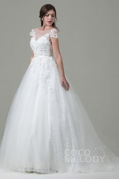 Perfect A-line Illusion Natural Train Tulle Cap Sleeve Open Back Wedding Dress with Appliques LWAT14014