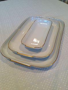 VTG Set of 3 ROSENTHAL PORCELAIN Helena Pattern White & Gold Serving Platters #Rosenthal