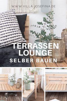 Terrassen Lounge selber bauen. Die Anleitung findet ihr auf www.villa-Josefina.de Terrassen Lounge - Lärchenholz - Lounge Möbel Garten selber bauen