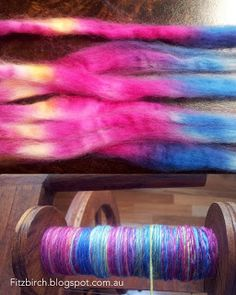 how to separate colors for spinning and how to Navaho ply (good video).