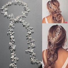 Yean Wedding Hair Vine Long Silver Bridal Headband Hair Accessories for Bride and Bridesmaid (100cm / 39.3inches)