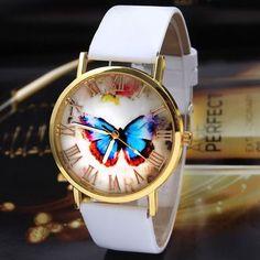 Womens Fashion Butterfly Style Leather Band Analog Quartz Wrist Watch
