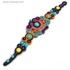 Blue Mandalay Soutache bracelet Colorful bracelet Turquoise bracelet Boho bracelet Soutache jewerly