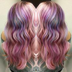 Hair style hair color rainbow hair mermaid hair @whimsical_brandi