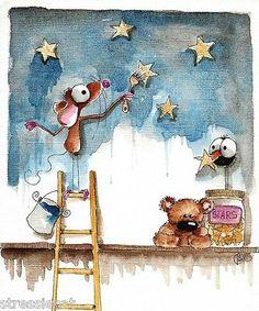 Original Watercolor Painting Art Illustration Mouse Teddy Bear Crow Starry Night | eBay