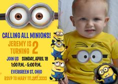 Minion Birthday Invitation Digital File by MarbleAndPaper on Etsy