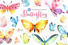 Butterflies Watercolor Set by OctopusArtis on @creativemarket