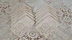 Antique Linen Figural Cutwork Lace Tablecloth 12 Napkins Maidens Cherubs | Vintageblessings