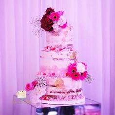Semi-naked wedding cake by: The Sweet Alley