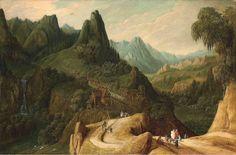 トビアス・フェルヘクト (Tobias Verhaecht,1561–1631 オランダ)「A mountainous landscape with travellers on a track」