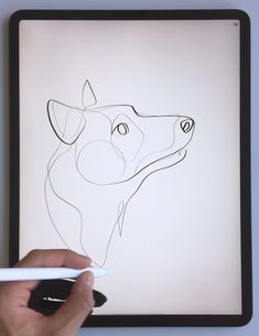 dog drawing Practicing dog portraits in one continuous line art using the iPad Pro and Apple Pencil. Dog Line Drawing, Dog Line Art, Contour Line Drawing, Single Line Drawing, Continuous Line Drawing, Dog Art, Cute Dog Drawing, Ipad Art, Art Abstrait Ligne