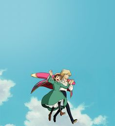 """sophie & wizard Howl from Studio Ghiblis anime """"Howls Moving Castle"""" based in the book written by Diana Wynne Jones"""