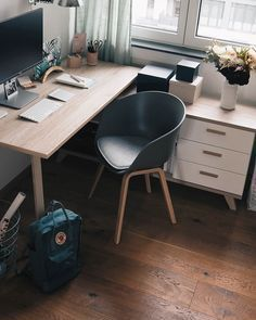 You won't mind getting work done with a home office like one of these. See these 20 inspiring photos for the best decorating and office design ideas for your home office, office furniture, home office ideas Home Office Space, Home Office Desks, Office Decor, Office Ideas, Small Office, Home Office Inspiration, Room Inspiration, Design Inspiration, Desk In Living Room