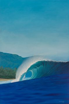 Eco surf art painting on of Hawaii's famous Pipeline. #art #artist #painting #surf #surfart For sale on my website http://scottdenholm.com/