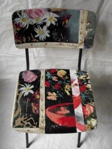 Mid century chairs covered with vintage canvas paintings.