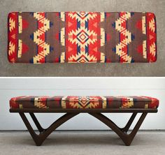 Mid Century wood bench with custom Pendleton style blanket cushion Southwestern Decorating, Southwest Decor, Southwest Style, Bohemian Style Home, Native American Decor, Camping Blanket, Western Homes, My New Room, Decoration