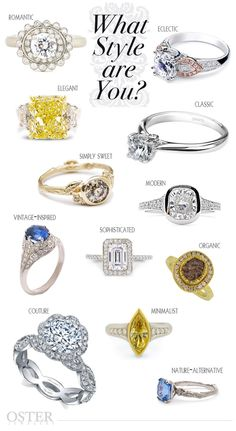 "What's Your Engagement Ring Style? Choosing an engagement ring is a very personal experience. Beyond the 4 c's, personality, life & fashion sense all come into play when picking out your perfect diamond ensemble. With so many hot diamond designers, Oster Jewelers has the ring that conveys your spirit. We will help you discover your diamond setting personality when saying, "" I do."" #MyBridalStyle #MyDiamondStyle"