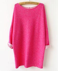 Sudadera suelta manga larga-rosado claro US$31.50