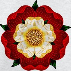 The stylized 5 petaled Tudor rose, an emblem of the Tudors. Adopted by Henry VII as he took the throne at (more or less) the end of the Wars of the Roses. Los Tudor, Tudor Era, Tudor Style, Tudor Black Bay, Tudor History, British History, Ancient History, British Literature, Uk History