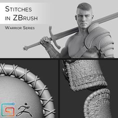 In this video tutorial I will show you how I created the Stitches for my Warrior model and how to create your own stitch brush in ZBrush. Sculpting Tutorials, Eye Drawing Tutorials, Digital Painting Tutorials, Drawing Tips, Gesture Drawing Poses, Digital Paintings, Zbrush Character, Character Modeling, Character Art