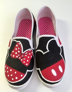 16cfd7ed36 Mickey and Minnie silhouette painted canvas shoes