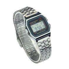 Vintage Womens Men Stainless Steel Digital Alarm Stopwatch Wrist Watch