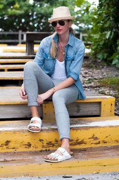 Grey Sweatpants with White Birkenstocks