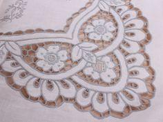 ecru linen cut work hand made Antique tablecloths