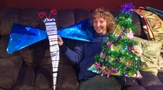 My dragonfly and Christmas tree wrapped presents with my beautiful mother showcasing them.