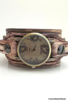 Womens leather watch cuff, Distressed brown leather wrist watch, women's leather cuff, watch bracelet