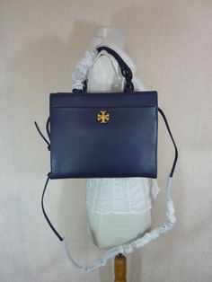 bdc6509a7e2bc Tory Burch Navy Blue Textured Leather Small KIRA Tote  498