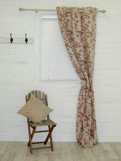 Auvergne Linen Red Curtain Fabric - The Millshop Online