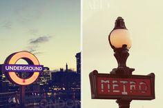 Les moyens de transport sont différents, à Paris cette le métro et à Londres le souterrains.
