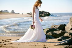 Lace Wedding Gown With Train Sheer Back boho by whiteromance