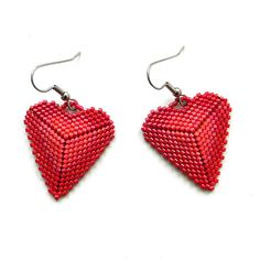 Beaded hearts   Seed bead earrings  gift for her  by Anabel27shop