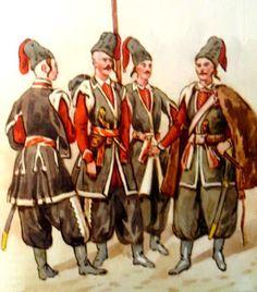 """Epoka stanisławowska: Trzech kozaków i setnik 2 pułku """"wiernych kozaków"""" 1792 r. Rys. B. Gembarzewski."""