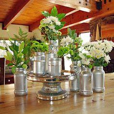 Mercury Glass Jars: Love this arrangement