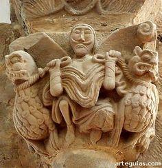 Domador con animales. S. XII  , capitel de Santa María de Villanueva de Teverga. Asturias.