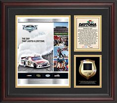2012 Daytona 500 Program 3 Photo Core Collage with Sprint Tower Banner-Limited Edition of 500 - Fanatics Authentic Certified. 100% Certified Authentic and Backed by our Sports Memorabilia Authenticity Guarantee. Category. The product is officially licensed by NASCAR and comes with a statement of authenticity. Each of these collectibles comes designed with three photographs. Makes a Great Gift! It is framed in brown wood and measures 20'' x 24'' x 1'' and is ready to hang in any home...